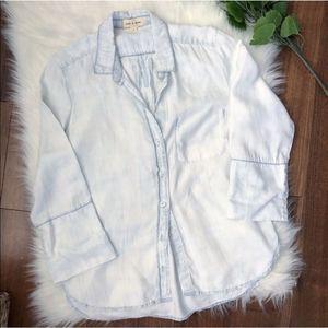 Cloth & Stone Anthropologie White Blue Button Down